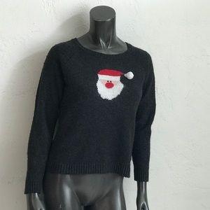 Ugly Christmas Sweater Santa novelty crew neck